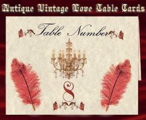 Wedding Favors Antique Vintage Love Table Cards