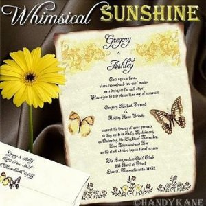Wedding Scroll Invitations Whimsical Sunshine Butterfly