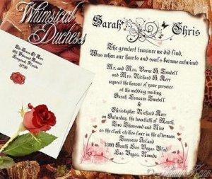 Wedding Scroll Invitations Whimsical Duchess Rose Fairy