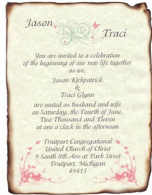 Wedding Scroll Invitations Whimsical Pastels Theme