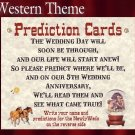 QTY 50 Western Cowboy Wedding Party Favor Favors Prediction Cards