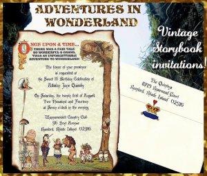 qty 100 original ALICE in WONDERLAND Wedding Sweet 16 Invitations