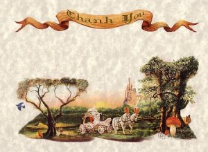 Wedding Thank You Cards Favors Storybook Cinderella Theme qty 50 style b carriage