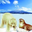 Polar bear and friends, mink style soft and warm queen size blanket, Q961E
