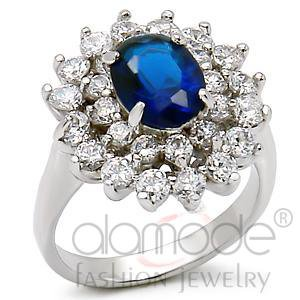 Fashion Jewelry, Ladies Ring, Brass, Rhodium,With Sapphire Stone
