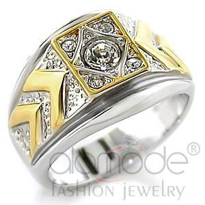 Men's Ring ,Top Grade Crystal,Brass,Reverse Two Tone