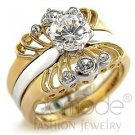 Fashion Jewelry Ladies Ring With AA Grade CZ,Brass,Two-Tone