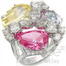 Fashion Jewelry Ladies Ring With Multi Color AAA Grade CZ, Brass, Rhodium