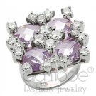 Fashion Jewelry Ladies Ring With LightAmethyst Color AAA Grade CZ, Brass, Rhodium