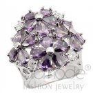 Fashion Jewelry Ladies Ring With Amethyst Color AAA Grade CZ, Silver,Rhodium