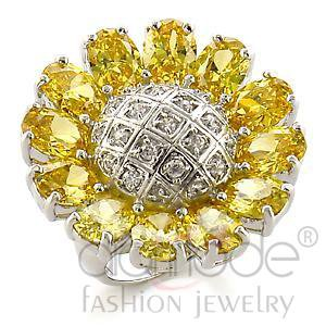 Fashion Jewelry Ladies Ring With AAA Grade CZ,Brass,Rhodium
