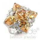 Fashion Jewelry Ladies Ring With AAA Grade Champagne CZ,Brass,Rhodium