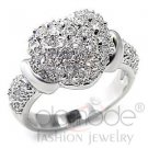 Fashion Jewelry Ladies Ring With AAA Grade CZ,Brass,Rhodium