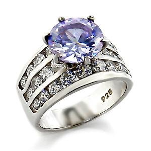 Sterling Silver 925 Fashion Jewelry Ring With Light Amethyst Cubic Zirconia Stone