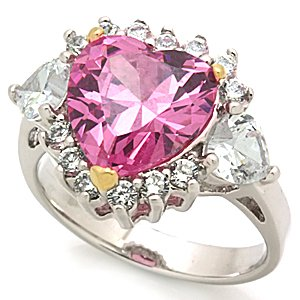 Sterling Silver 925 Fashion Jewelry Ring With Rose Cubic Zirconia Stone