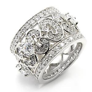 Sterling Silver 925 Fashion Jewelry Ring With Clear Cubic Zirconia Stone,  Rhodium Plating