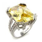 Sterling Silver 925 Fashion Jewelry Ring With Citron Yellow  Cubic Zirconia Stone, Rhodium Plating