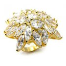 Sterling Silver 925 Fashion Jewelry Ring With Clear Cubic Zirconia Stone, Gold Plating