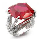 Sterling Silver 925 Fashion Jewelry Ring With Ruby  Cubic Zirconia Stone, Rhodium Plating