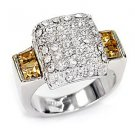 Sterling Silver 925 Fashion Jewelry Ring With Topaz & Clear Cubic Zirconia Stone, Rhodium Plating