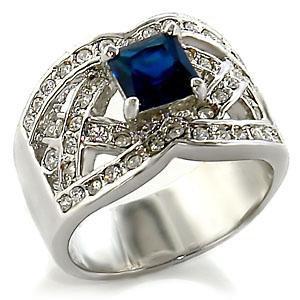 Fashion Jewelry Ring With Montana  Cubic Zirconia Stone, Rhodium Plating