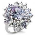 Fashion Jewelry Ring With Light Amethyst Cubic Zirconia Stone, Rhodium Plating