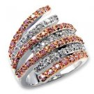 Fashion Jewelry Ring With Multi Color Rose Cubic Zirconia Stone,Two Tone
