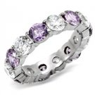 Stainless Steel Amethyst CZ  Band Ring_RI0T-05890