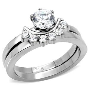 Stainless Steel Clear CZ Wedding Band Ring_RI0T-05886
