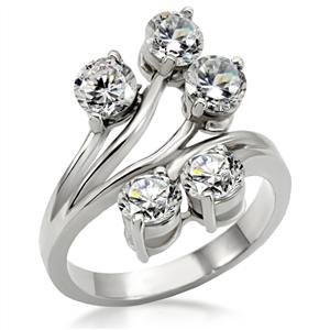 Stainless Steel With Clear CZ Ring_RI0T-05777