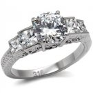 Stainless Steel Lady's Engagement Ring With Clear Cubic Zirconia, Sz 5,6,7,8,9,10_RI05838