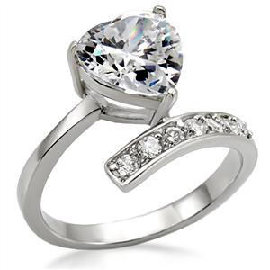 Stainless Steel Lady's Engagement Ring W/ Clear Heart CZ, Sz 6,8,9,10