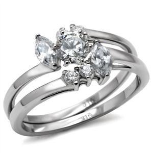 Stainless Steel Asymmetric Cluster Engagement, Wedding Ring Set Sz 6,7,8,9,10