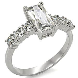 Stainless Steel Lady's Baguette Engagement Ring W/ Clear CZ, Sz 5,6,7,8,9,10