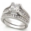 Lady's Engagement , Wedding Ring With Clear CZ, Brass, Rhodium Plating, Sz 5,6,8,9,10