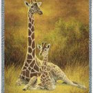 Giraffes Mom & Son, Mink Style Queen Size Soft & Warm Blanket_Q982E