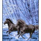 Black Running Horses, Mink Style Queen Size Soft & Warm Blanket_Q960E