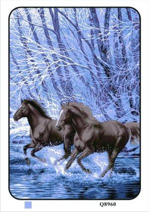 Black Running Horses, Mink Style Queen Size Soft & Warm Blanket_Q960E