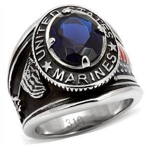 Men's Stainless Steel US Marines Montana CZ Military Ring , Size 8,9,11,12,13