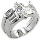 Sterling Silver Engagement Wedding Ring Set W/ Clear  Marquise CZ, Size 6, 9