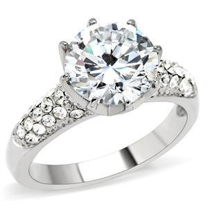 5 Ct Clear Round CZ Stainless Steel Engagement, Wedding Ring, Size 5,6,7,8, 9