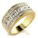 Two Tone Clear Austrian Crystal Engagement, Wedding Band Ring, Size 5,6,7,9