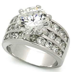 3.5 Carat Clear Round Cut Pave CZ  Wedding , Cocktail Ring, Size 6,7,8,9,10