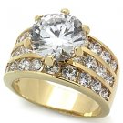 3.5 Carat Gold Plated Wedding, Cocktail Ring With Clear Round CZ Sz 5,6,7,8,9,10