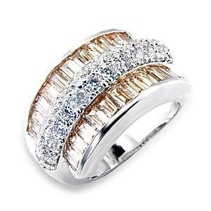 Sparkling Rhodium Plated Champagne Cubic Zirconia Cocktail Ring  Sz 5,6,7,8,9,10