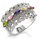 Multicolor Cubic Zirconia Rhodium Plated Cocktail Band Ring, Size 5,6,7,8,9