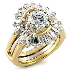 Two Tone Wedding Ring Set With 2 Carat Clear Round CZ, Sz 5,6,7,8,9,10