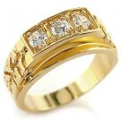 Men's Gold Plated Clear Round Cubic Zirconia  Nugget Ring,  Size  12, 13