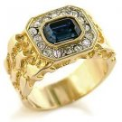 Men's Gold Plated  Emerald Montana  Aistrian Crystal Ring,  Size 8,9,10,11,12,13