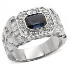 Men's Stainless Steel Emerald Montana Austrian Crystal Ring Size 8,9,10,11,12,13